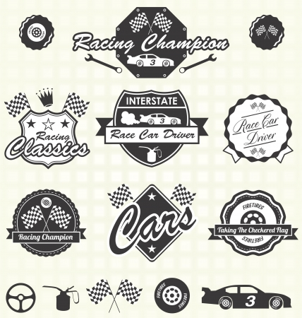 motors: Vector Set: Retro Race Car Driver Champion Labels Illustration
