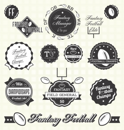 Vector Set  Vintage Fantasy Football Labels and Icons