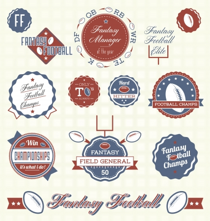 Set  Fantasy Football Labels Vector