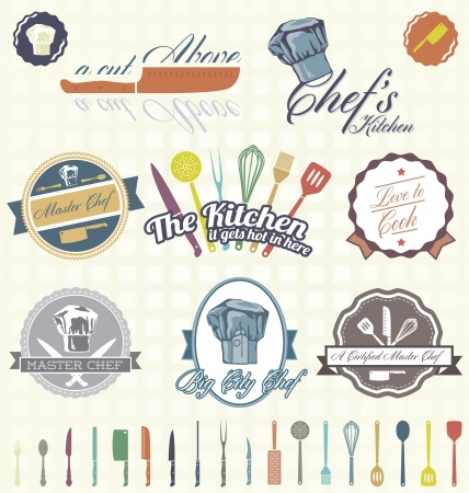 spatula: Set  Kitchen   Chef Labels