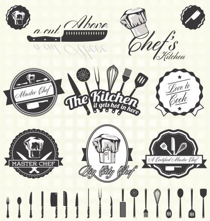 šéfkuchař: Nastavit Kuchyně Chef štítky Ilustrace