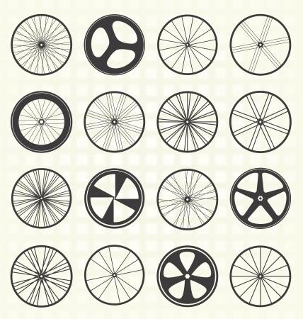 bicicleta retro: Conjunto Siluetas Tire Bike Vectores