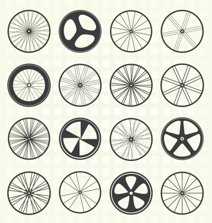 spoke: Set  Bike Tire Silhouettes Illustration