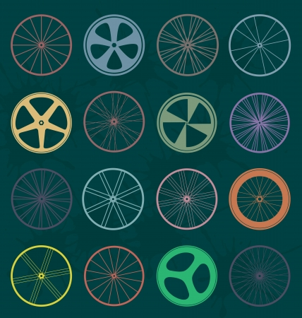 metal grid: Set  Retro Bike Wheel Silhouettes Illustration