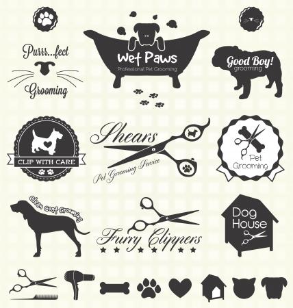 Set  Pet Grooming Labels Illustration