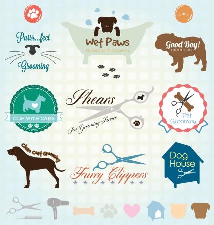 Réglez Rétro animaux labels Toilettage