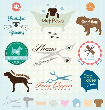 Set  Retro Pet Grooming Labels Vector