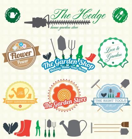 Set  Retro Garden Shop Labels and Icons Illustration