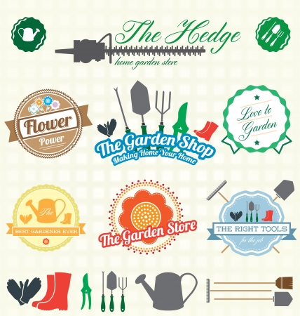 gardening tool: Set  Retro Garden Shop Labels and Icons Illustration