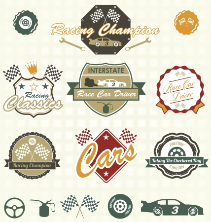 motor race: Stel Retro Car Racing Labels en pictogrammen