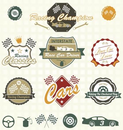 Zestaw etykiet retro i ikony Wyścigi samochodowe Ilustracja