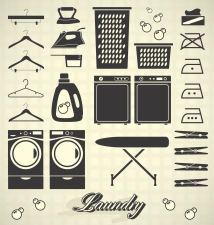 세탁기: 설정된 레트로 세탁실 레이블 및 아이콘 일러스트