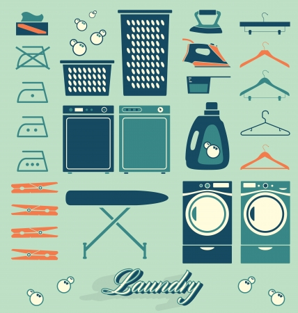 dry: Vector Set  Retro Laundry Room Labels and Icons Illustration