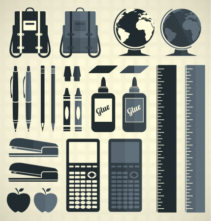 Vector Set  School Supplies Icons and Symbols Çizim