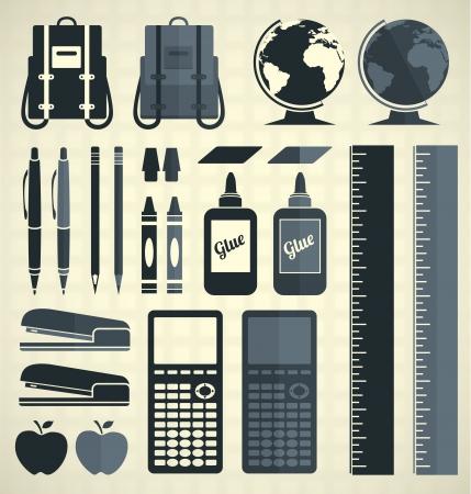 Vector Set  School Supplies Icons and Symbols Illustration