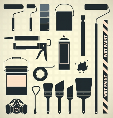 roller: Vector Set  Painting Supplies Silhouettes and Icons