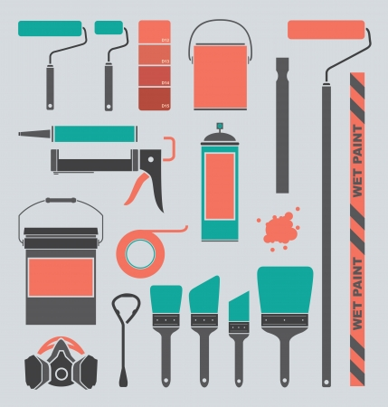 roller: Vector Set  Retro Painting Supplies Silhouettes and Icons