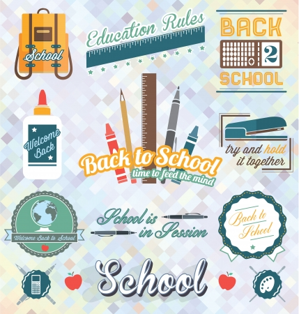 Vector Set  Back to School Labels and Icons Vector