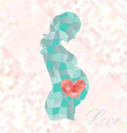 Diamond Pregnant Woman with Heart in Belly