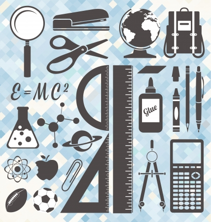 protractor: Vector Set  School Icons and Symbols Illustration