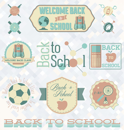 scissors icon: Vector Set  Retro Style Back to School Labels and Symbols