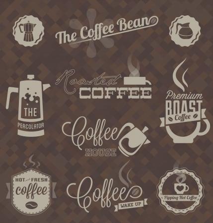 ベクトルのセットのレトロな喫茶店ラベルとシンボル