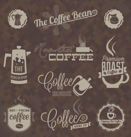 x�cara de ch�: Vector Set Retro caf� Etiquetas e s�mbolos Ilustra��o