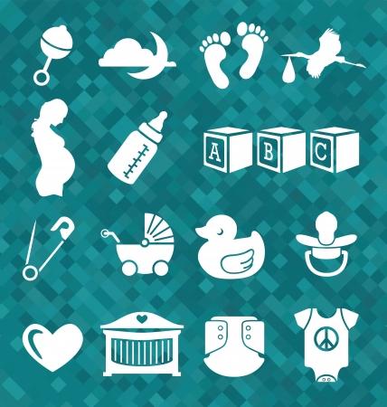 Vector Set  Newborn Baby Icons and Symbols