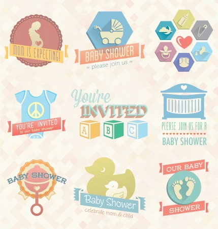 diaper pins: Vector Set  Baby Shower Invitation Labels and Icons