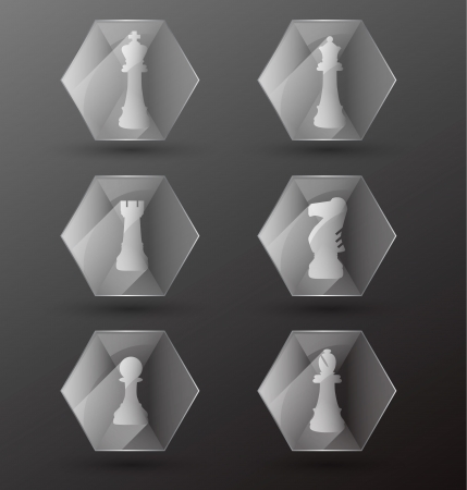 Vector Set  Glass Chess Piece Icons