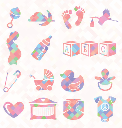 cradle: Vector Set  Quilt Pattern Baby Icons