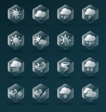 Vector Set  Glass Weather Icons and Symbols Vector