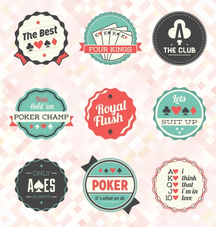 poker: Vector Set  Retro Poker Labels and Icons