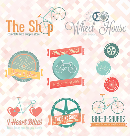 Vector Set  Retro Bike Shop Labels and Icons Vector