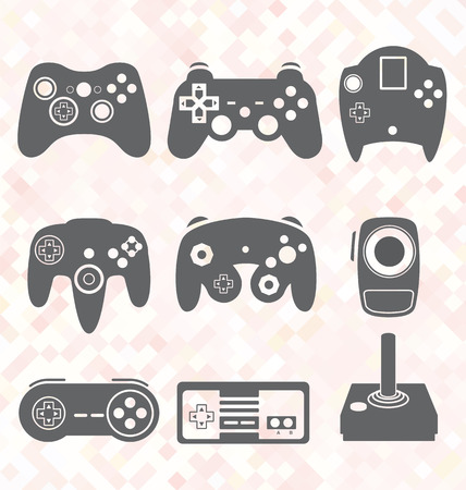 Vector Set Video Game Controller Silhouetten Standard-Bild - 23655590