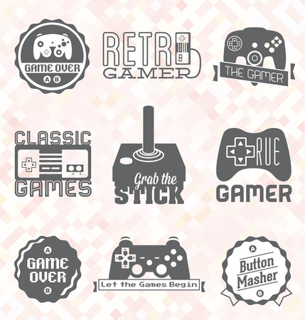 Vector Set  Retro Video Game Labels and Icons Vector