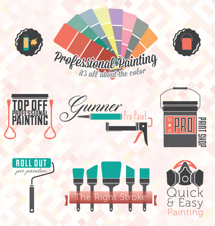 Vector Set  Commercial Residential Painting Icons and Symbols Vector