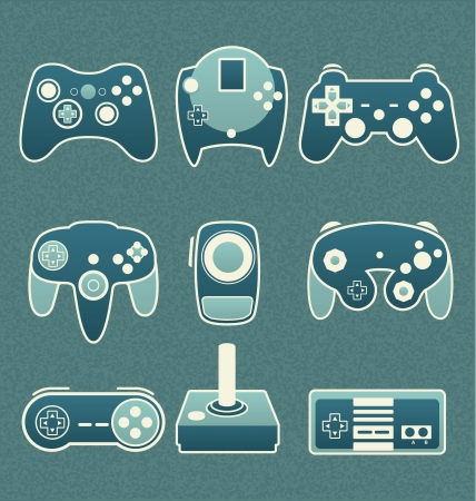leisure games: Vector Set  Retro Video Game Remote Controls Illustration
