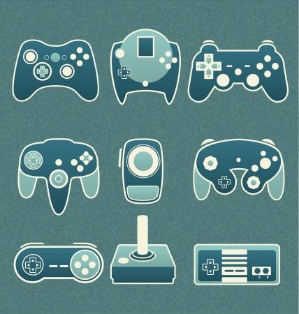 Vector Set  Retro Video Game Remote Controls Illustration