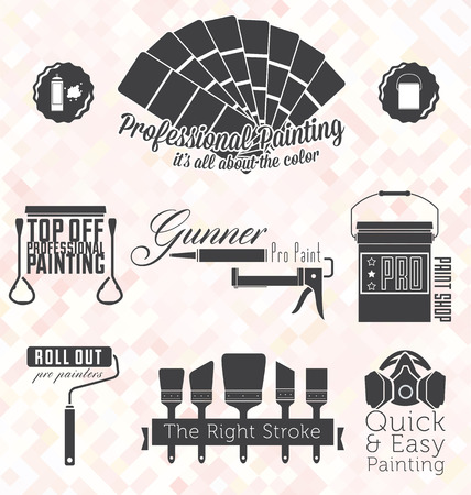 Vector Set of Retro Painting Company Symbols and Icons Vector