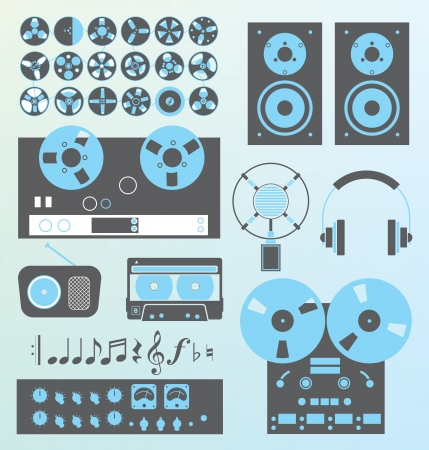 producer: Vector Set  Retro Style Music Recording Equipment