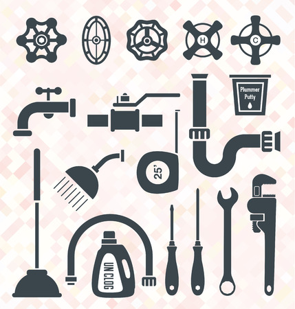 Vector Set  Plumbing Service Objects and Tools Stok Fotoğraf - 25424192