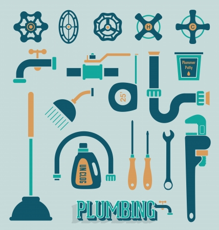 drain: Vector Set  Retro Plumbing Icons and Symbols Illustration