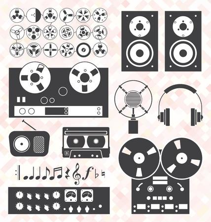 Vector Set  Retro Music Recording Equipment Objects