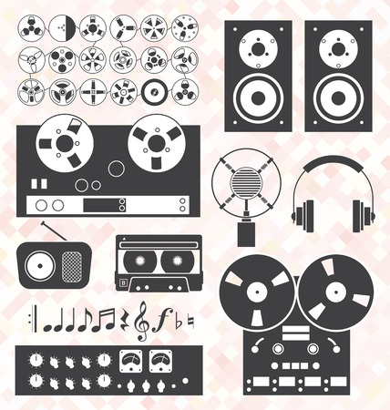 flauta dulce: Vector Set Música Retro Equipo de grabación Objetos
