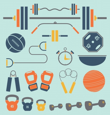 Retro Color Flat Gym and Workout Equipment Stock Vector - 25422874