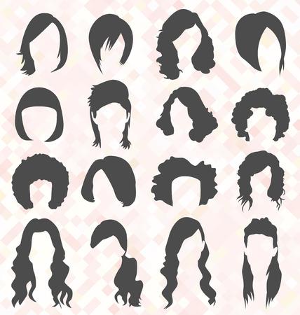 coiffer: Silhouettes femme de cheveux