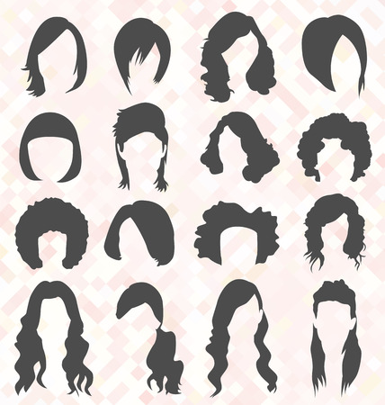 Womans Hair Style Silhouetten Stock Illustratie