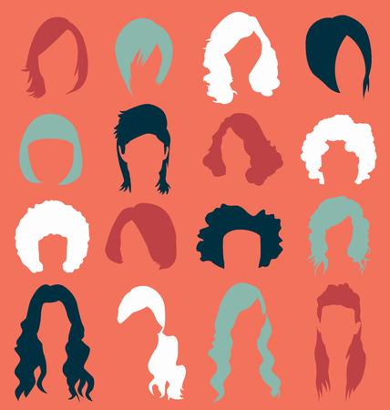 Retro Womans Hair Style Silhouettes Ilustração