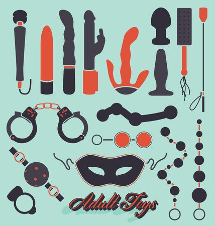 секс: Коллекция взрослая игрушка секса Силуэты Иллюстрация